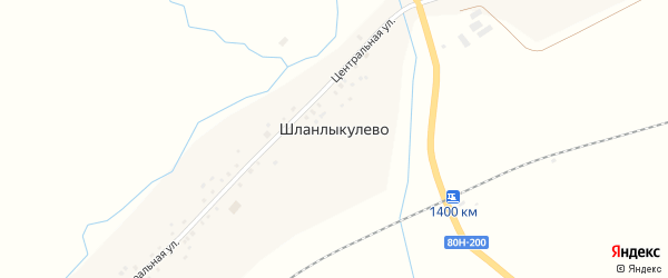 Центральная улица на карте деревни Шланлыкулево с номерами домов