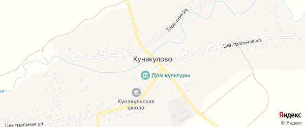 Заречная улица на карте села Кунакулово с номерами домов