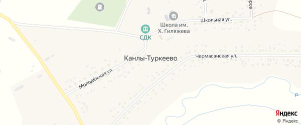 Молодежная улица на карте села Канлы-Туркеево с номерами домов