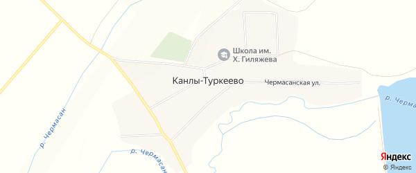 Карта села Канлы-Туркеево в Башкортостане с улицами и номерами домов