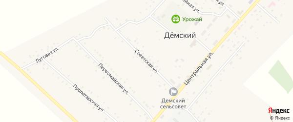 Советская улица на карте села Демского с номерами домов