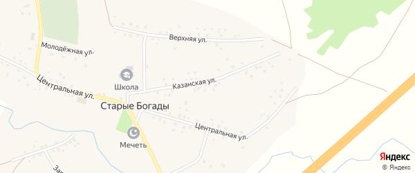 Центральная улица на карте села Старые Богады с номерами домов