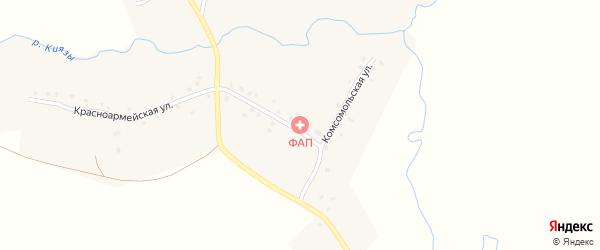 Красноармейская улица на карте села Староактау с номерами домов