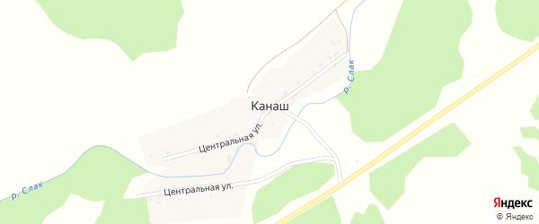Центральная улица на карте деревни Канаша с номерами домов
