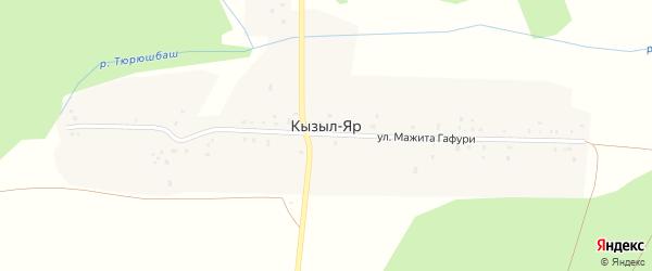 Улица Мажита Гафури на карте деревни Кызыла-Яра с номерами домов
