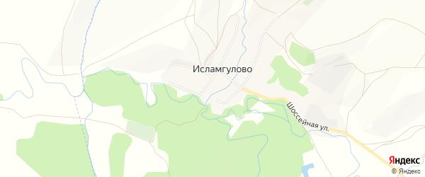 Карта деревни Исламгулово в Башкортостане с улицами и номерами домов