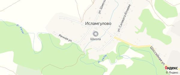 Лесная улица на карте деревни Исламгулово с номерами домов