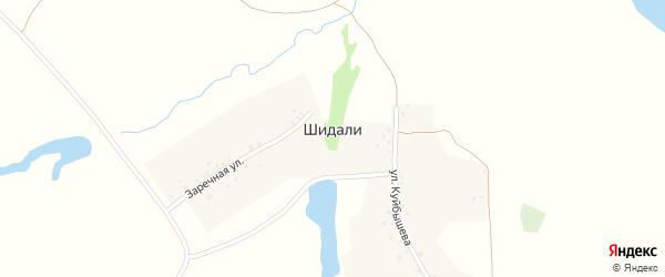 Заречная улица на карте деревни Шидали с номерами домов