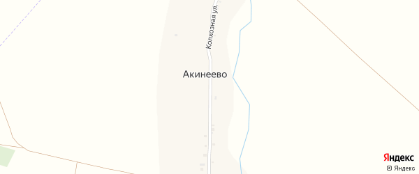 Колхозная улица на карте деревни Акинеево с номерами домов
