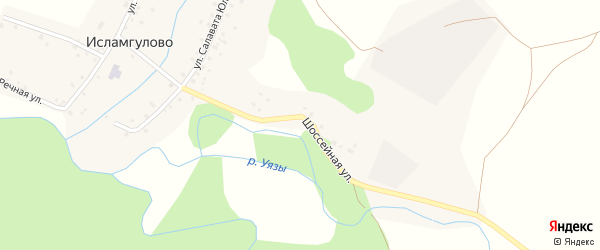 Шоссейная улица на карте деревни Исламгулово с номерами домов