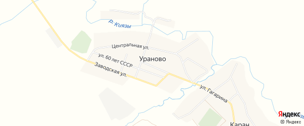 Карта деревни Ураново в Башкортостане с улицами и номерами домов