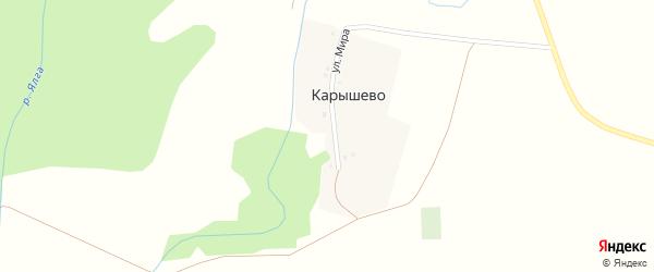 Улица Мира на карте деревни Карышево с номерами домов