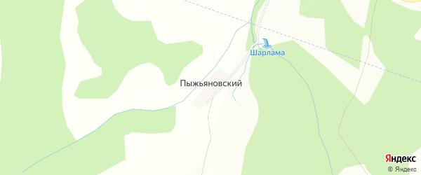 Карта деревни Пыжьяновского в Башкортостане с улицами и номерами домов