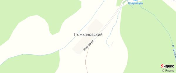 Речная улица на карте деревни Пыжьяновского с номерами домов