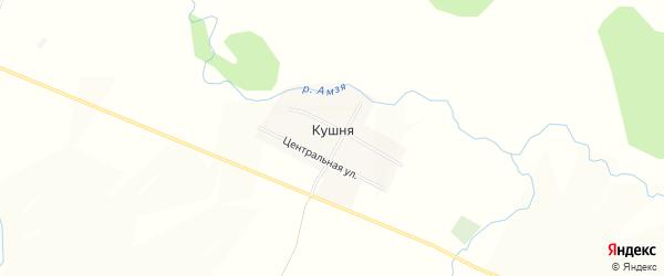 Карта деревни Кушни в Башкортостане с улицами и номерами домов