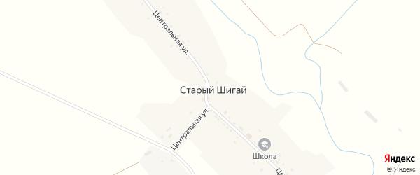 Центральная улица на карте села Старого Шигая с номерами домов