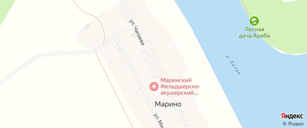 Улица Чапаева на карте деревни Марино с номерами домов