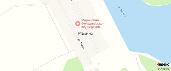 Улица Мира на карте деревни Марино с номерами домов