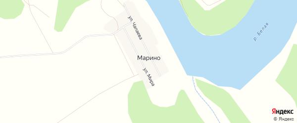 Карта деревни Марино в Башкортостане с улицами и номерами домов