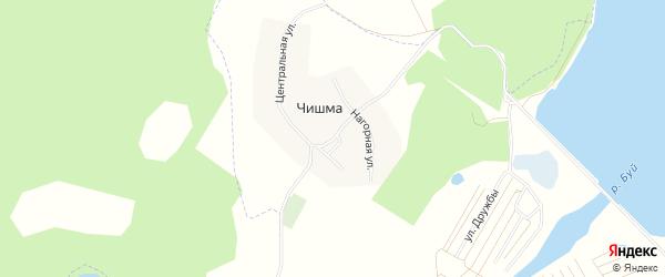 Карта деревни Чишмы города Нефтекамска в Башкортостане с улицами и номерами домов