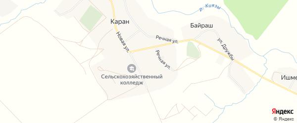 Карта села Карана в Башкортостане с улицами и номерами домов