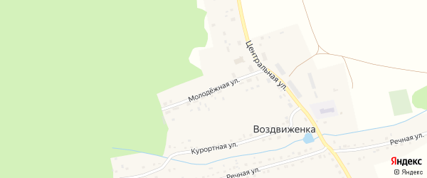 Молодежная улица на карте села Воздвиженки с номерами домов