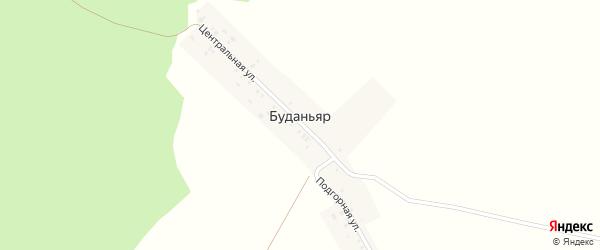 Подгорная улица на карте деревни Буданьяра с номерами домов