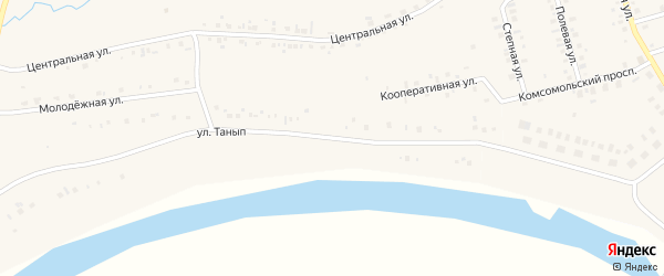 Улица Танып на карте деревни Редькино с номерами домов