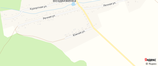 Южная улица на карте села Воздвиженки с номерами домов