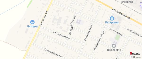 Улица Худайбердина на карте села Буздяк с номерами домов