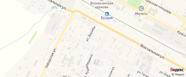Переулок Дружбы на карте села Буздяк с номерами домов