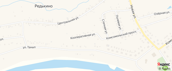 Кооперативная улица на карте деревни Редькино с номерами домов
