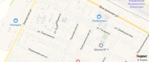 Пионерская улица на карте села Буздяк с номерами домов