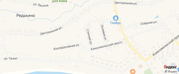 Степная улица на карте деревни Редькино с номерами домов