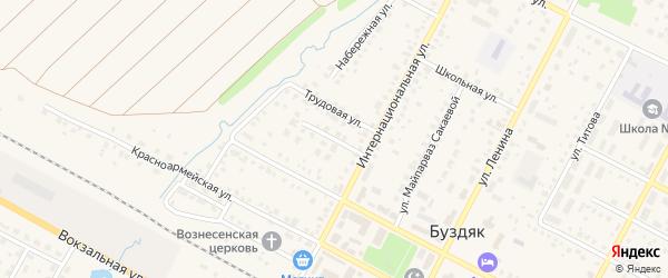 Улица Дзержинского на карте села Буздяк с номерами домов