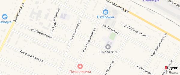 Комсомольская улица на карте села Буздяк с номерами домов
