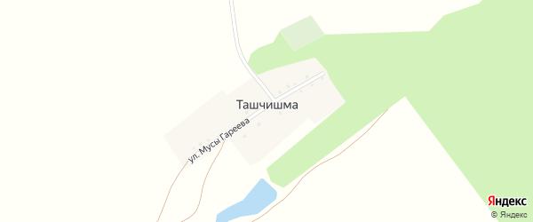Улица М.Гареева на карте деревни Ташчишмы с номерами домов