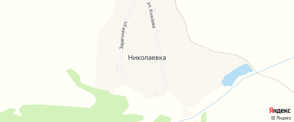 Улица Князева на карте деревни Николаевки с номерами домов