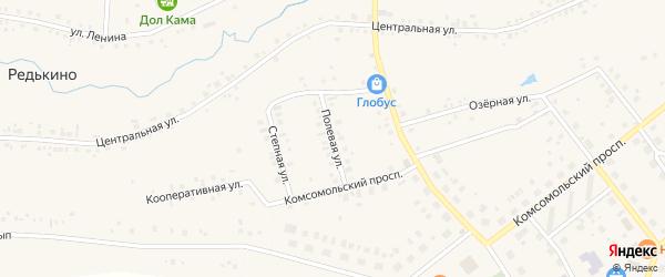 Полевая улица на карте деревни Редькино с номерами домов