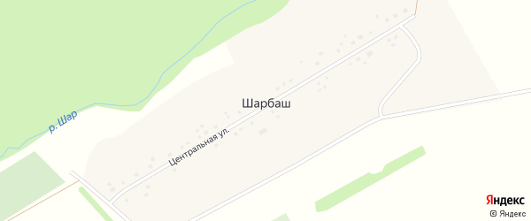 Центральная улица на карте деревни Шарбаша с номерами домов