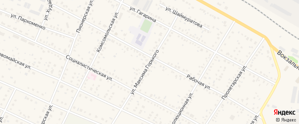 Улица М.Горького на карте села Буздяк с номерами домов