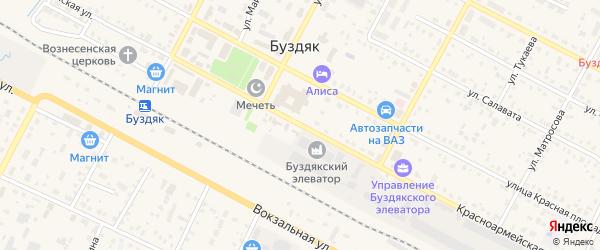 Красноармейская улица на карте села Буздяк с номерами домов