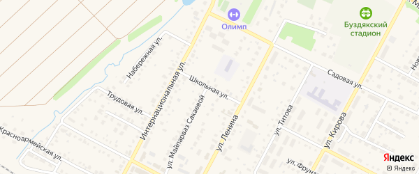 Школьная улица на карте села Буздяк с номерами домов