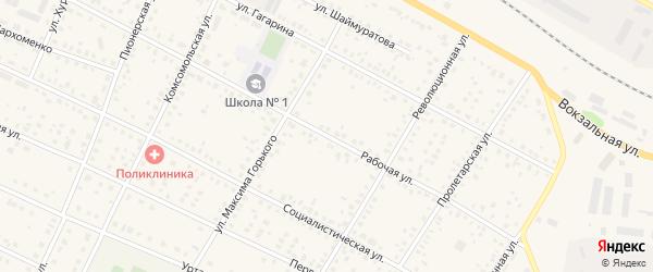 Рабочая улица на карте села Рассвета с номерами домов