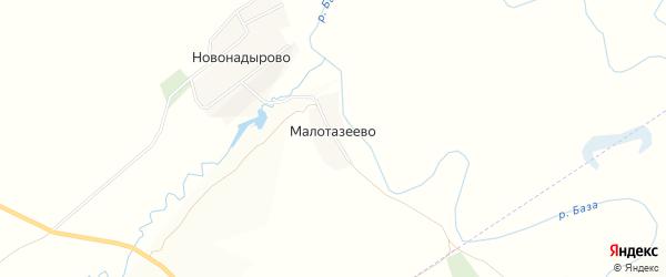 Карта деревни Малотазеево в Башкортостане с улицами и номерами домов