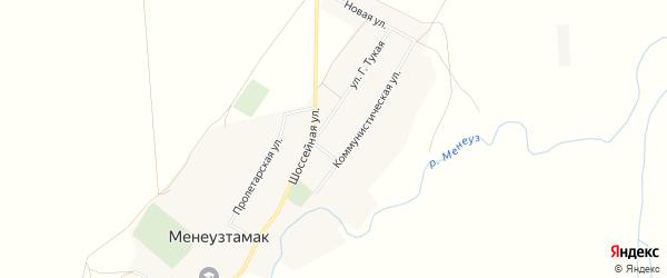 Карта села Менеузтамака в Башкортостане с улицами и номерами домов