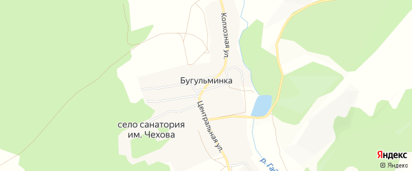 Карта деревни Бугульминки в Башкортостане с улицами и номерами домов