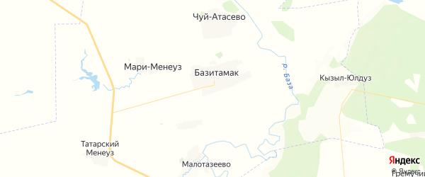 Карта Базитамакского сельсовета республики Башкортостан с районами, улицами и номерами домов
