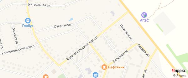 Комсомольский проспект на карте села Куяново с номерами домов