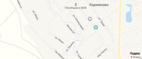 Речная улица на карте села Карманово с номерами домов